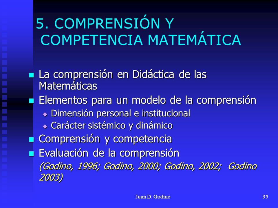 5. COMPRENSIÓN Y COMPETENCIA MATEMÁTICA