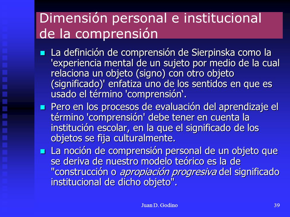 Dimensión personal e institucional de la comprensión
