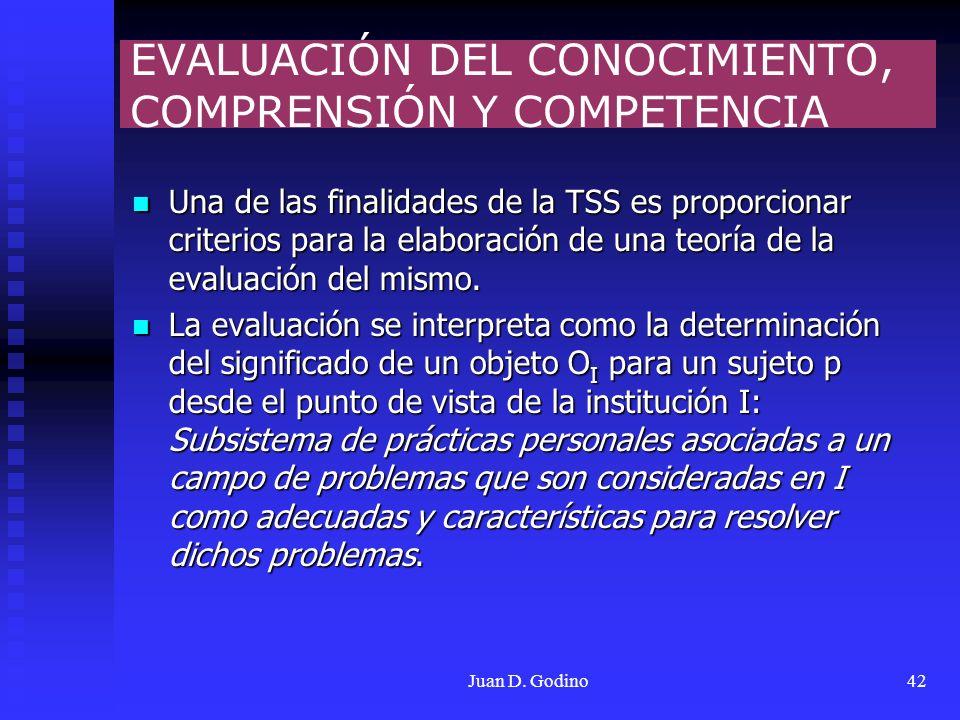 EVALUACIÓN DEL CONOCIMIENTO, COMPRENSIÓN Y COMPETENCIA