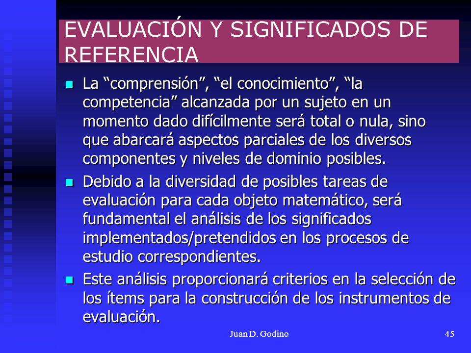 EVALUACIÓN Y SIGNIFICADOS DE REFERENCIA