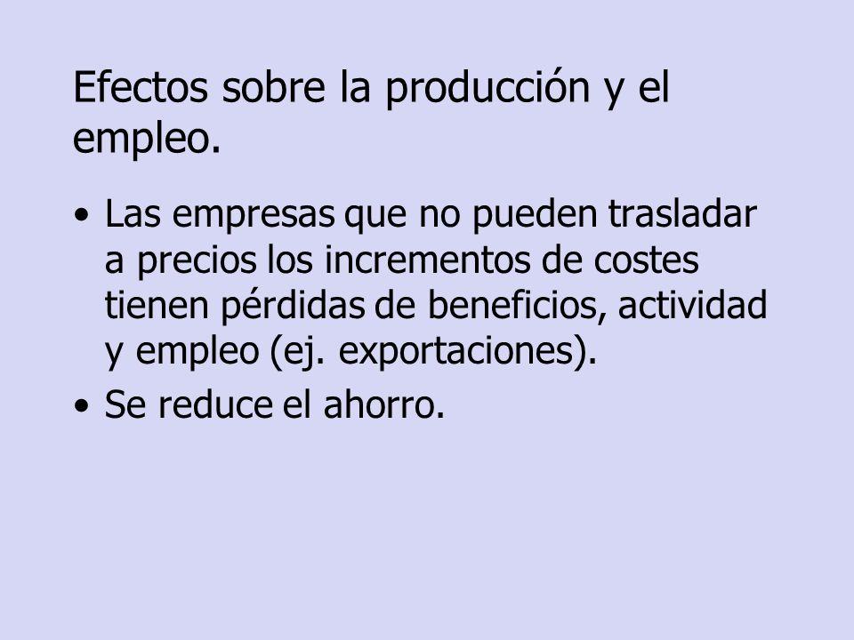 Efectos sobre la producción y el empleo.