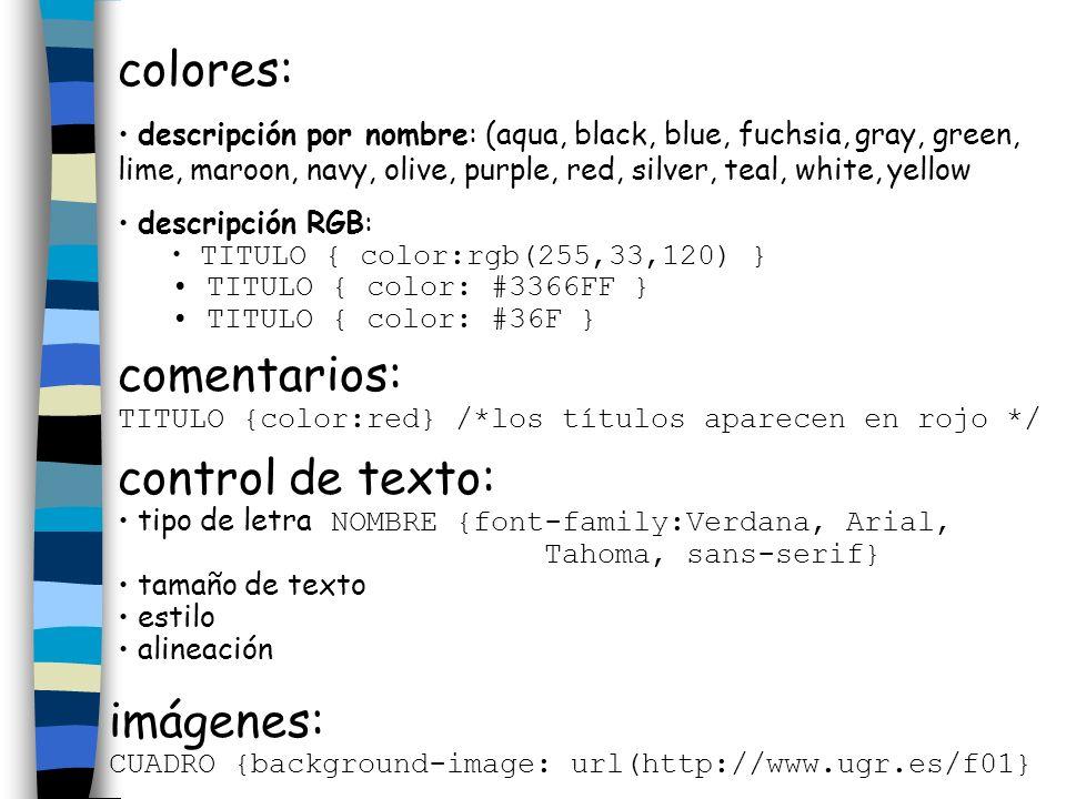 colores: comentarios: control de texto: imágenes: