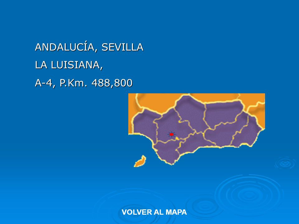ANDALUCÍA, SEVILLA LA LUISIANA, A-4, P.Km. 488,800 VOLVER AL MAPA
