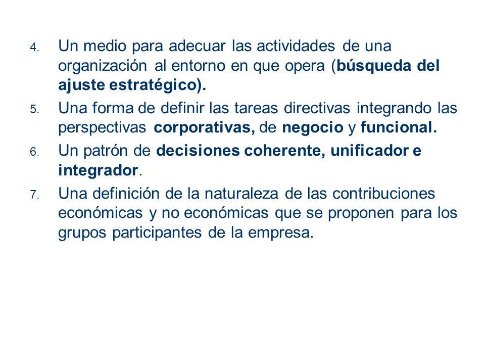 Un medio para adecuar las actividades de una organización al entorno en que opera (búsqueda del ajuste estratégico).