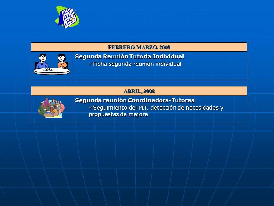 PROCEDIMIENTO FEBRERO-MARZO, 2008 Segunda Reunión Tutoría Individual