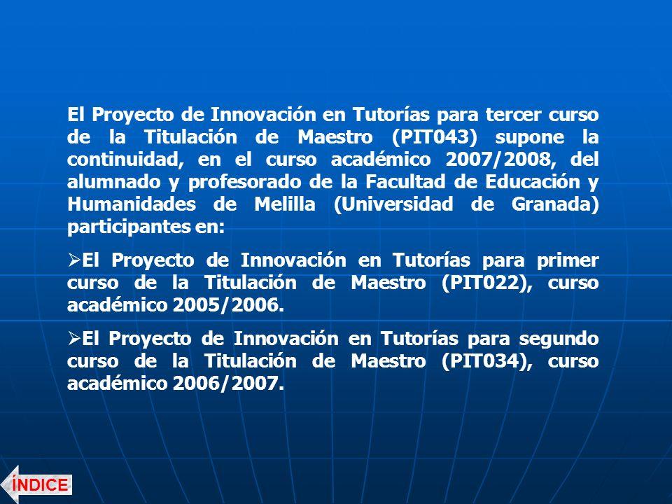 El Proyecto de Innovación en Tutorías para tercer curso de la Titulación de Maestro (PIT043) supone la continuidad, en el curso académico 2007/2008, del alumnado y profesorado de la Facultad de Educación y Humanidades de Melilla (Universidad de Granada) participantes en: