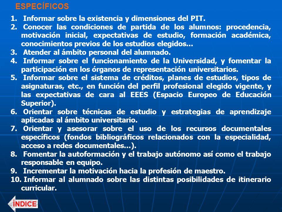 ESPECÍFICOS Informar sobre la existencia y dimensiones del PIT.