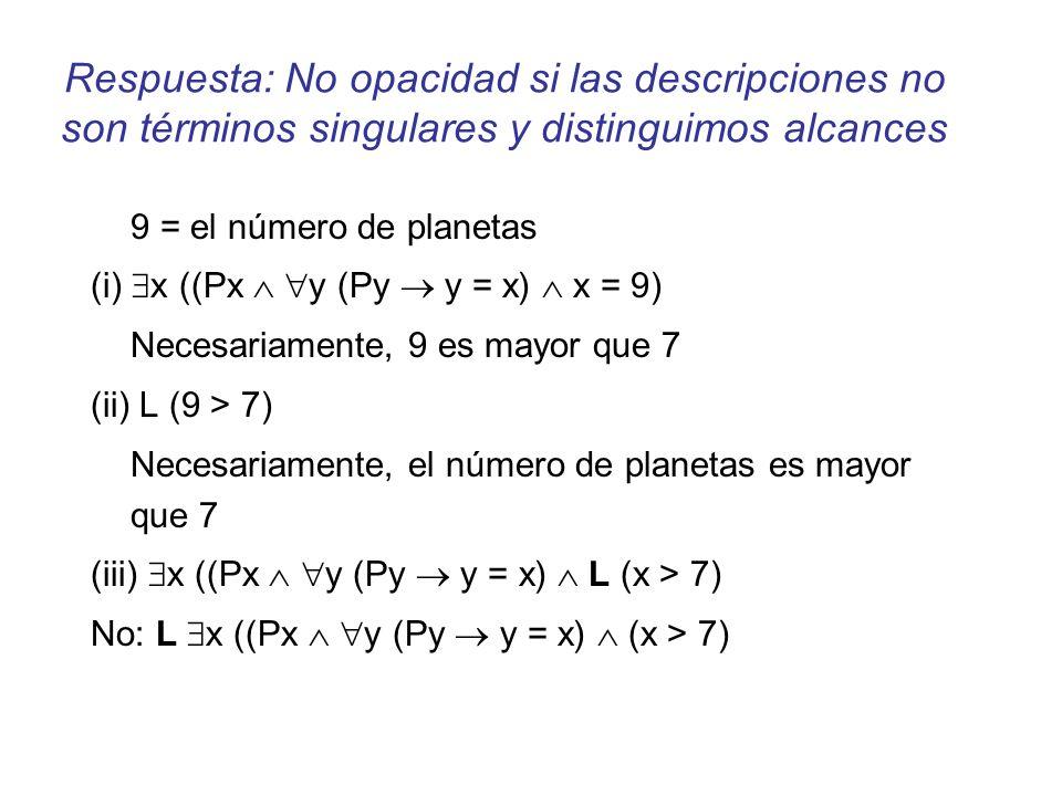 Respuesta: No opacidad si las descripciones no son términos singulares y distinguimos alcances