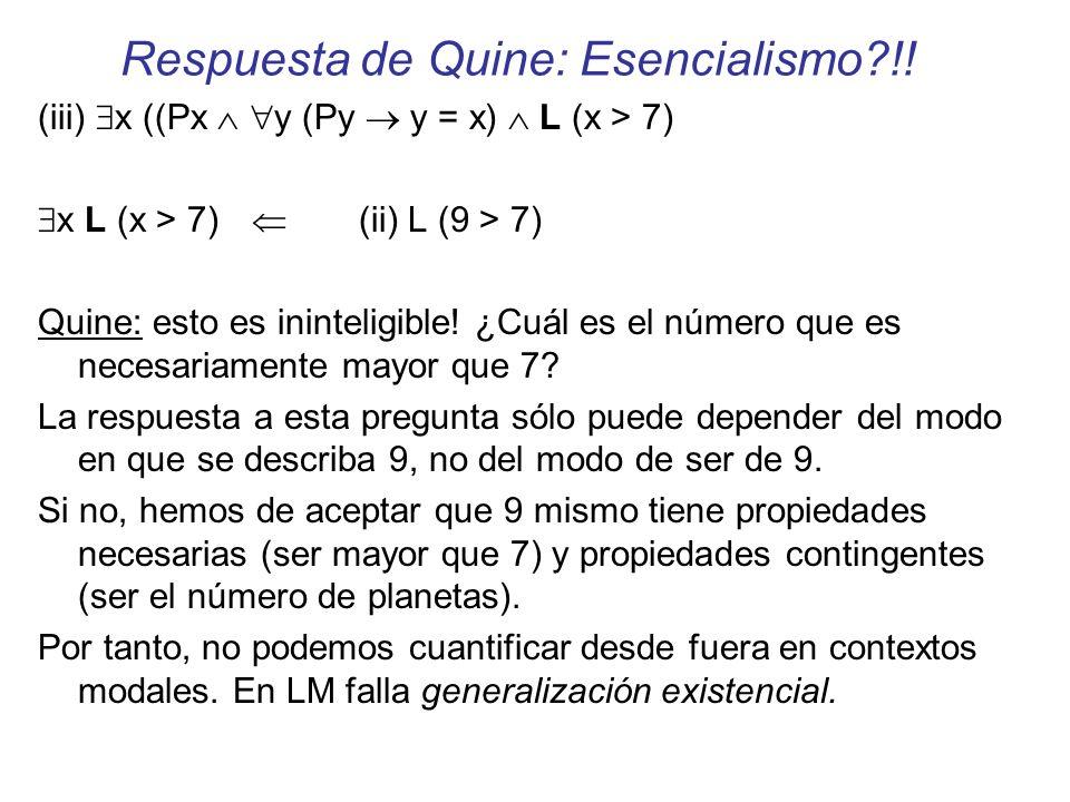 Respuesta de Quine: Esencialismo !!