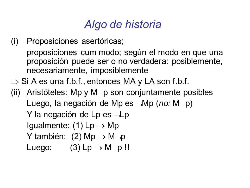 Algo de historia Proposiciones asertóricas;