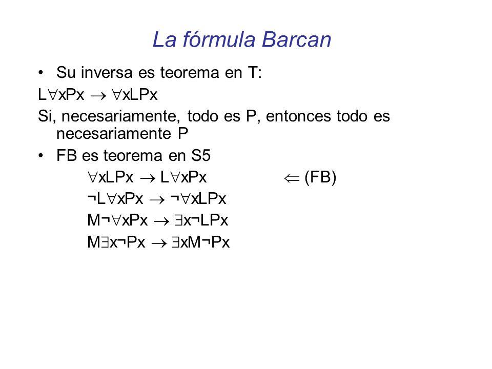 La fórmula Barcan Su inversa es teorema en T: LxPx  xLPx