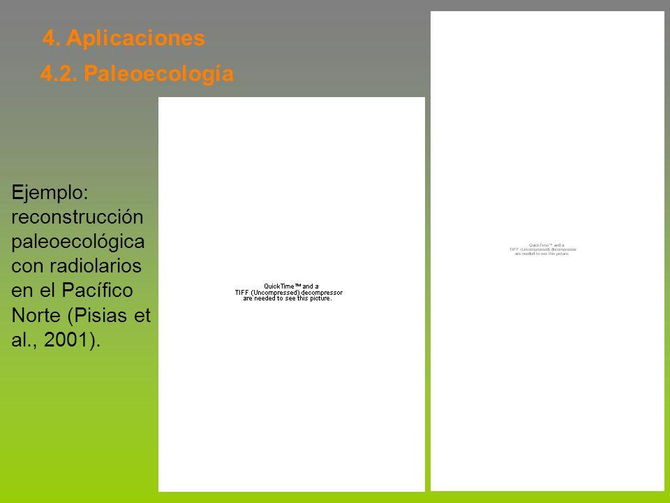 4. Aplicaciones 4.2. Paleoecología Ejemplo: reconstrucción