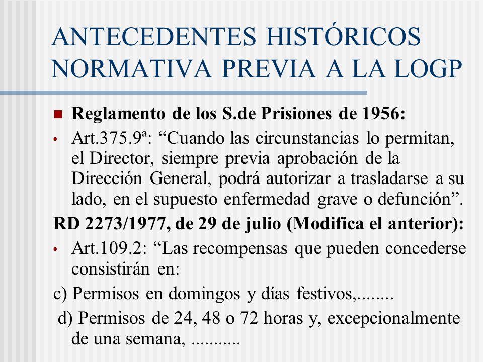 ANTECEDENTES HISTÓRICOS NORMATIVA PREVIA A LA LOGP