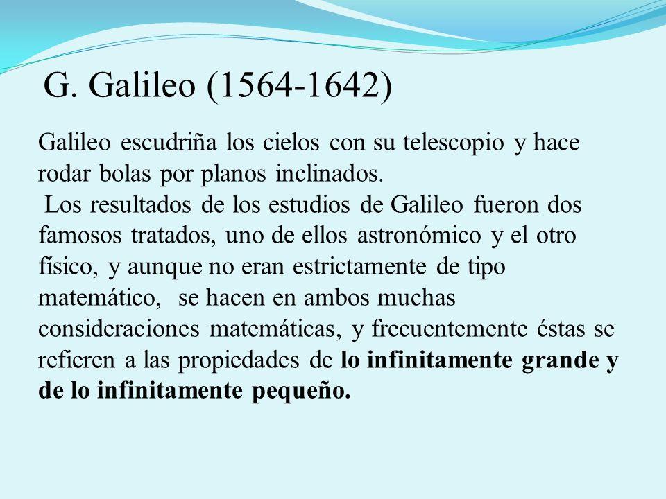 G. Galileo (1564-1642) Galileo escudriña los cielos con su telescopio y hace rodar bolas por planos inclinados.