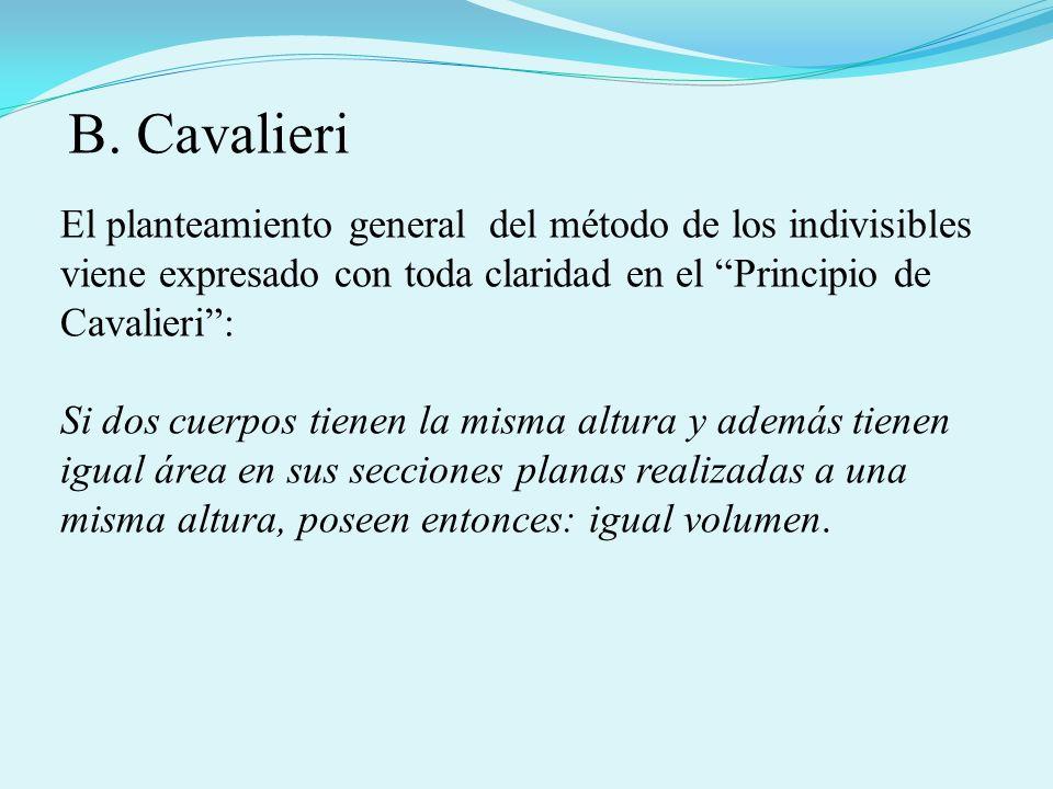 B. Cavalieri El planteamiento general del método de los indivisibles viene expresado con toda claridad en el Principio de Cavalieri :
