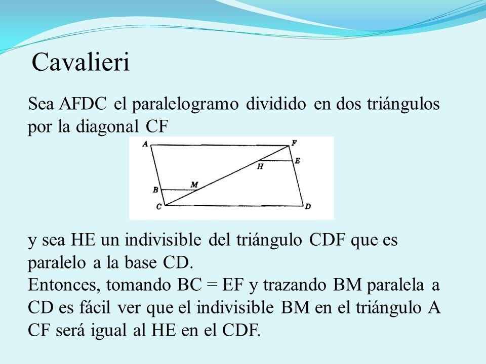 Cavalieri Sea AFDC el paralelogramo dividido en dos triángulos por la diagonal CF.