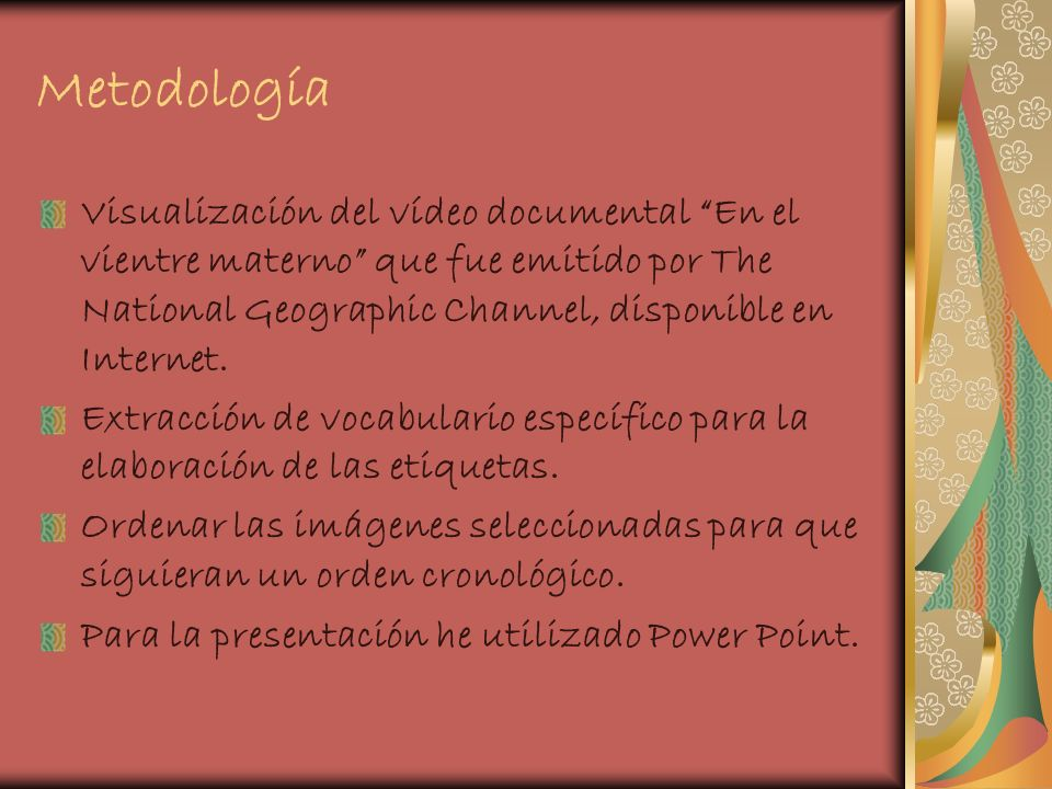 MetodologíaVisualización del vídeo documental En el vientre materno que fue emitido por The National Geographic Channel, disponible en Internet.