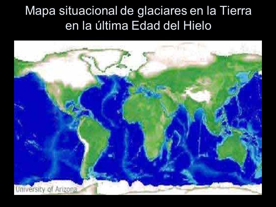 Mapa situacional de glaciares en la Tierra en la última Edad del Hielo