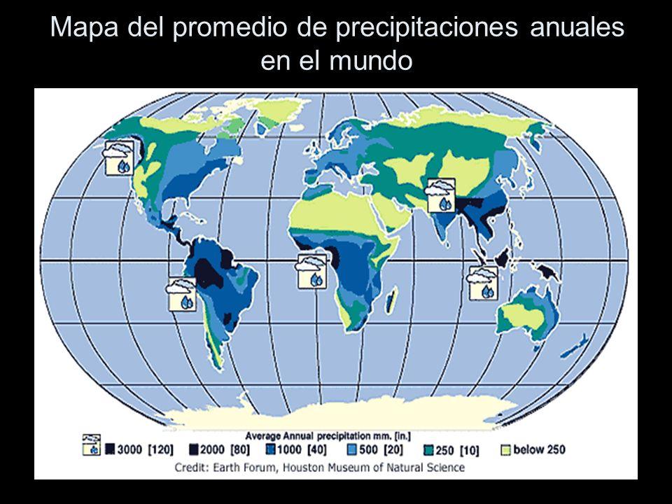 Mapa del promedio de precipitaciones anuales en el mundo
