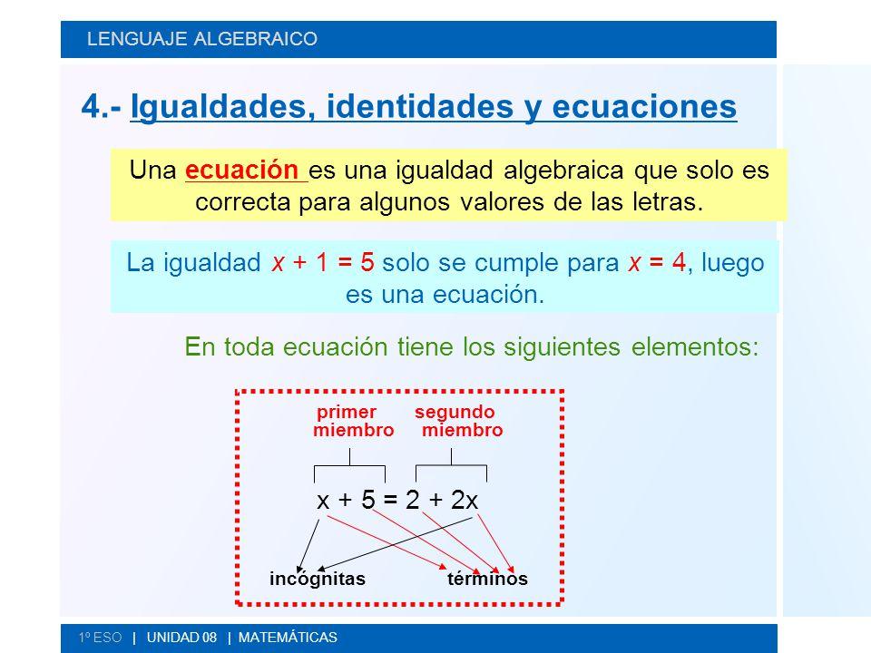 En toda ecuación tiene los siguientes elementos: