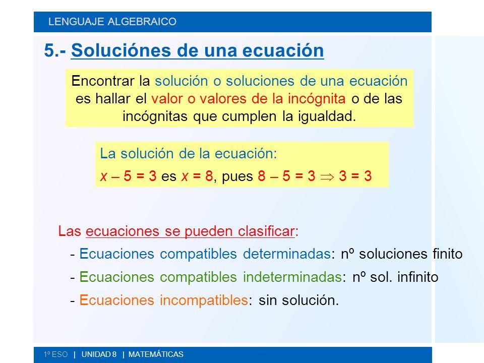 5.- Soluciónes de una ecuación