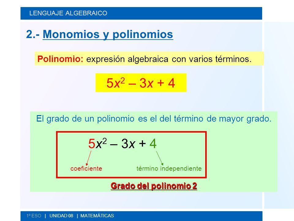 El grado de un polinomio es el del término de mayor grado.