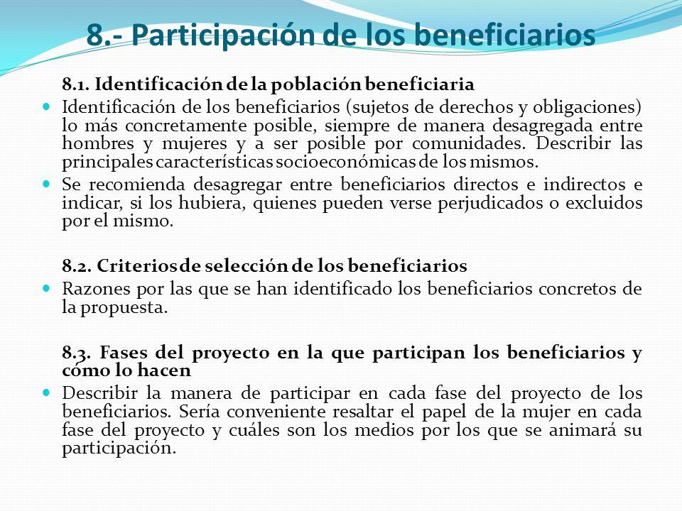8.- Participación de los beneficiarios
