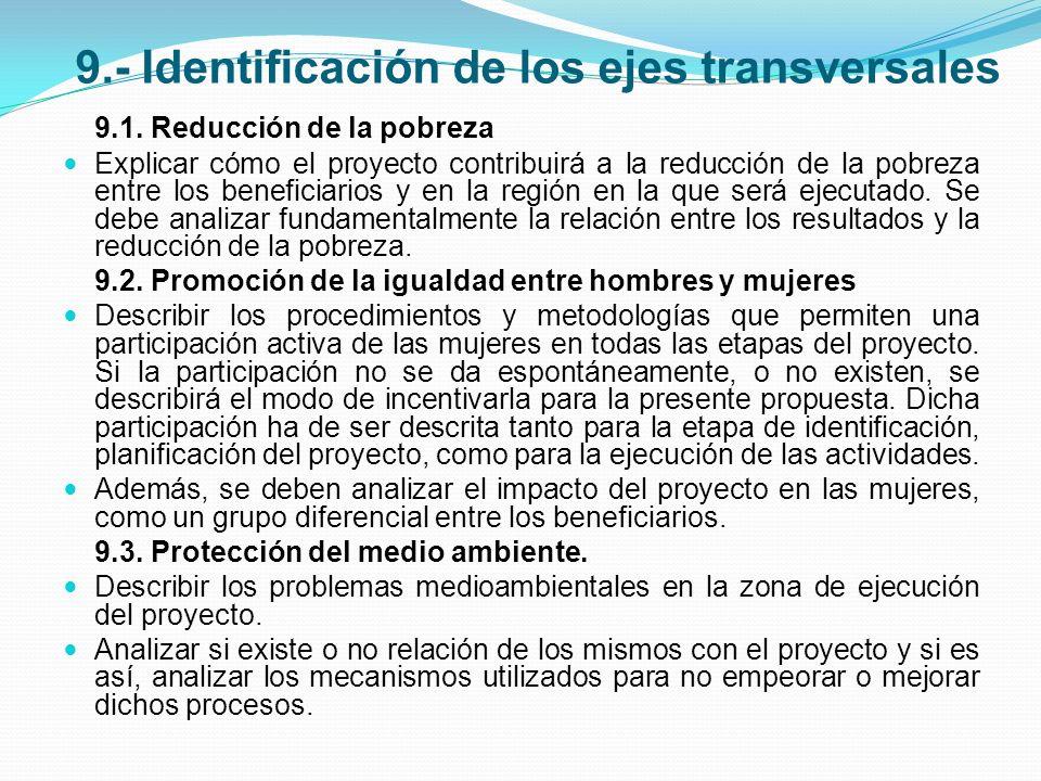 9.- Identificación de los ejes transversales