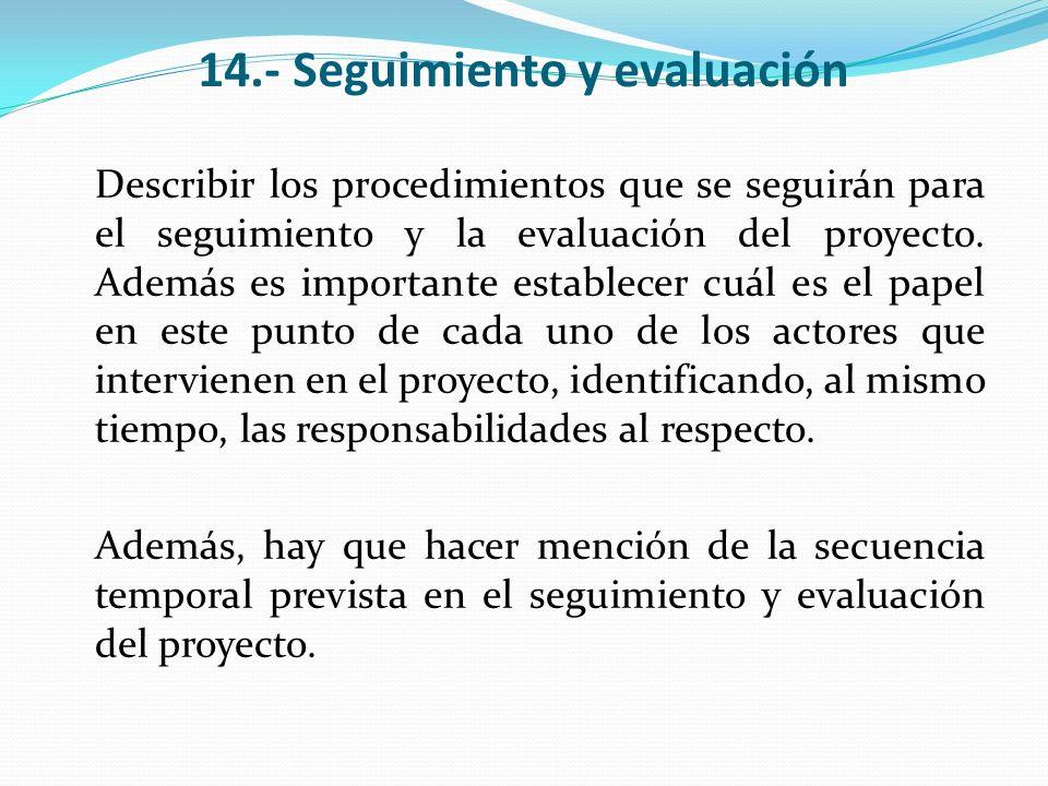 14.- Seguimiento y evaluación