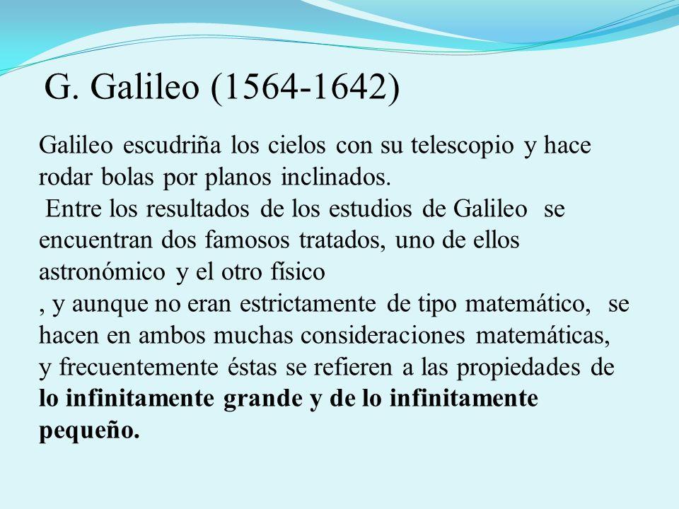 G. Galileo (1564-1642)Galileo escudriña los cielos con su telescopio y hace rodar bolas por planos inclinados.