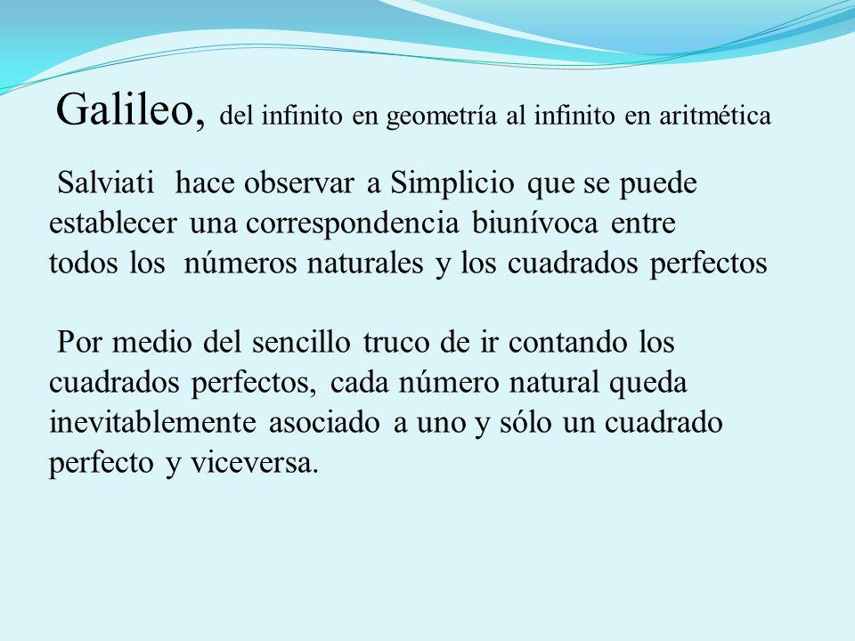 Galileo, del infinito en geometría al infinito en aritmética