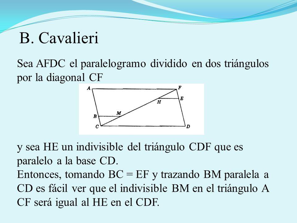 B. CavalieriSea AFDC el paralelogramo dividido en dos triángulos por la diagonal CF.