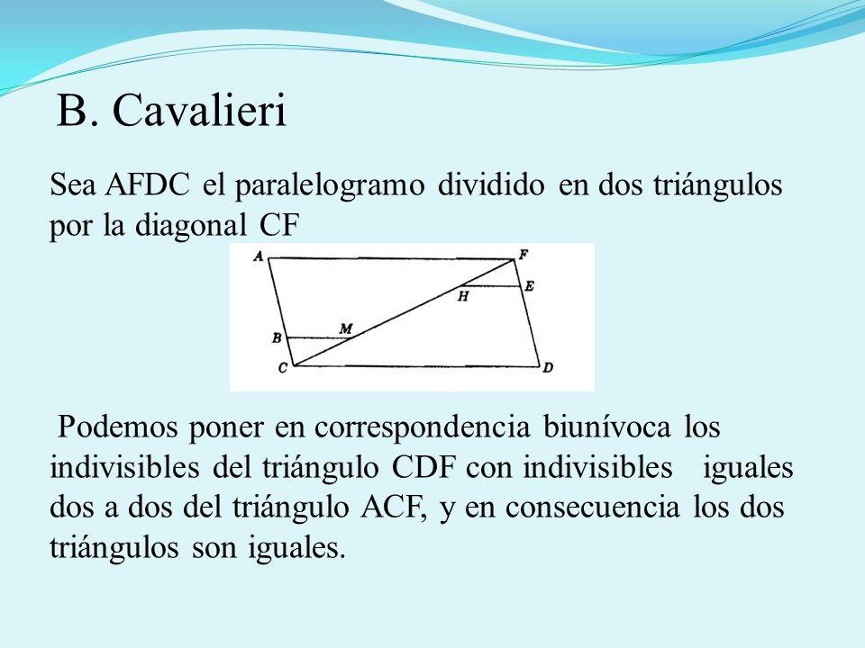 B. Cavalieri Sea AFDC el paralelogramo dividido en dos triángulos por la diagonal CF.