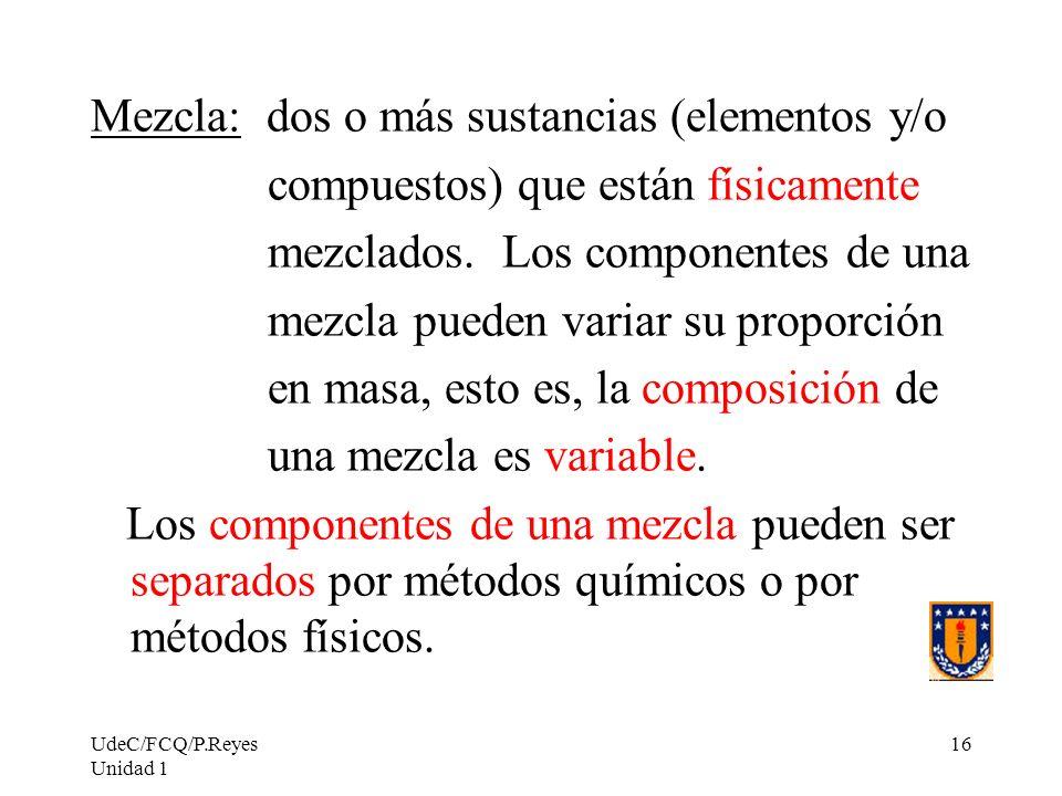 Mezcla: dos o más sustancias (elementos y/o