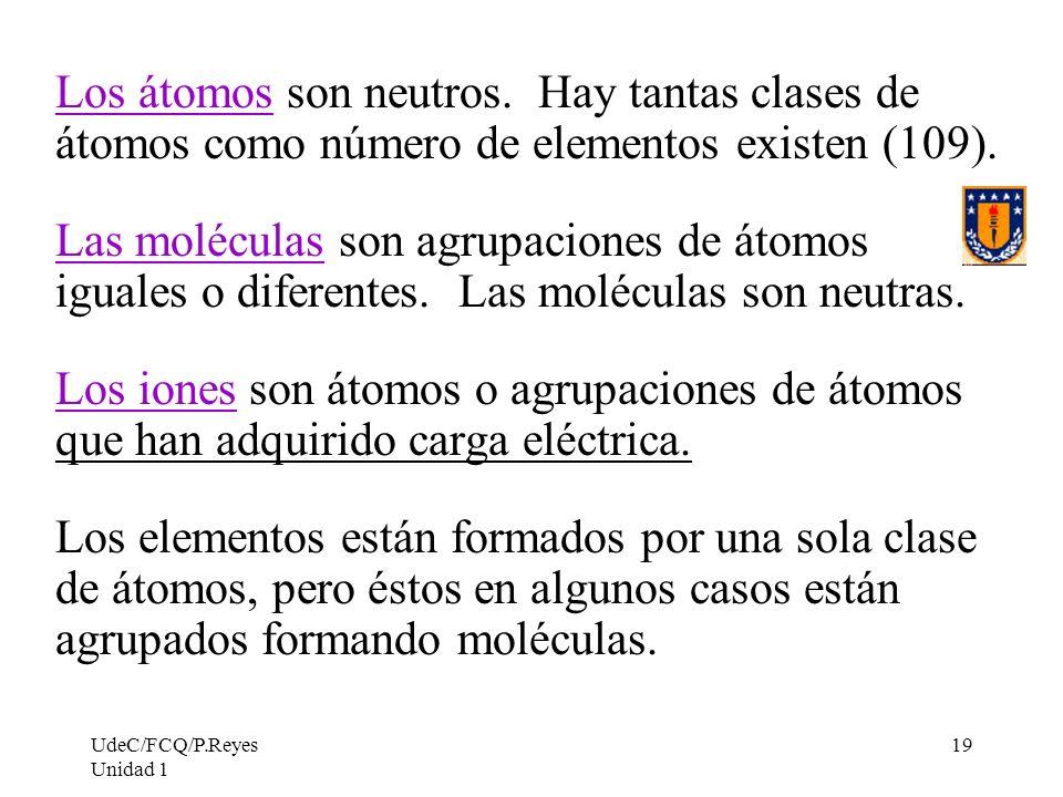 Los átomos son neutros. Hay tantas clases de átomos como número de elementos existen (109).