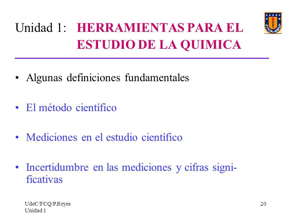 Unidad 1: HERRAMIENTAS PARA EL ESTUDIO DE LA QUIMICA
