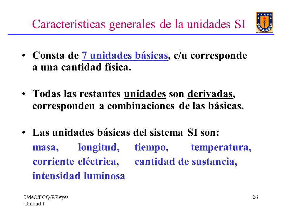 Características generales de la unidades SI