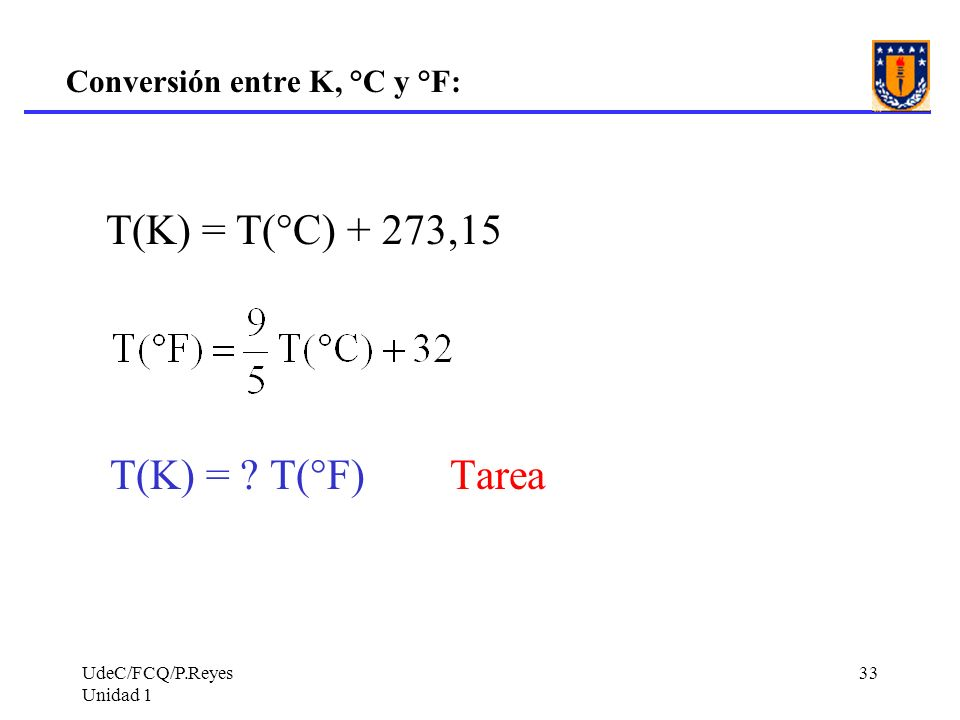 Conversión entre K, °C y °F:
