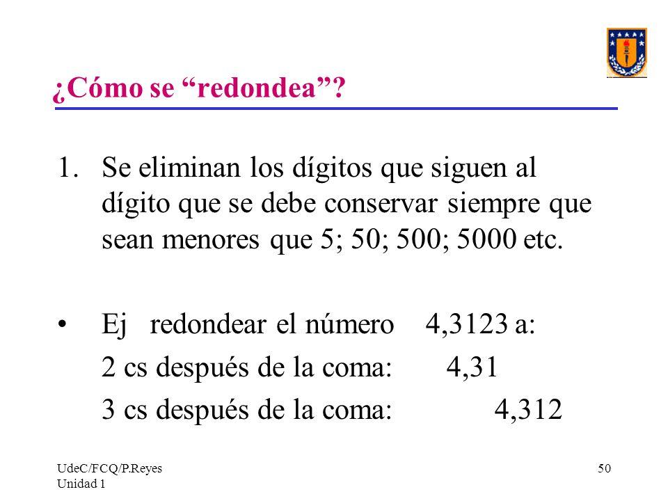 Ej redondear el número 4,3123 a: 2 cs después de la coma: 4,31
