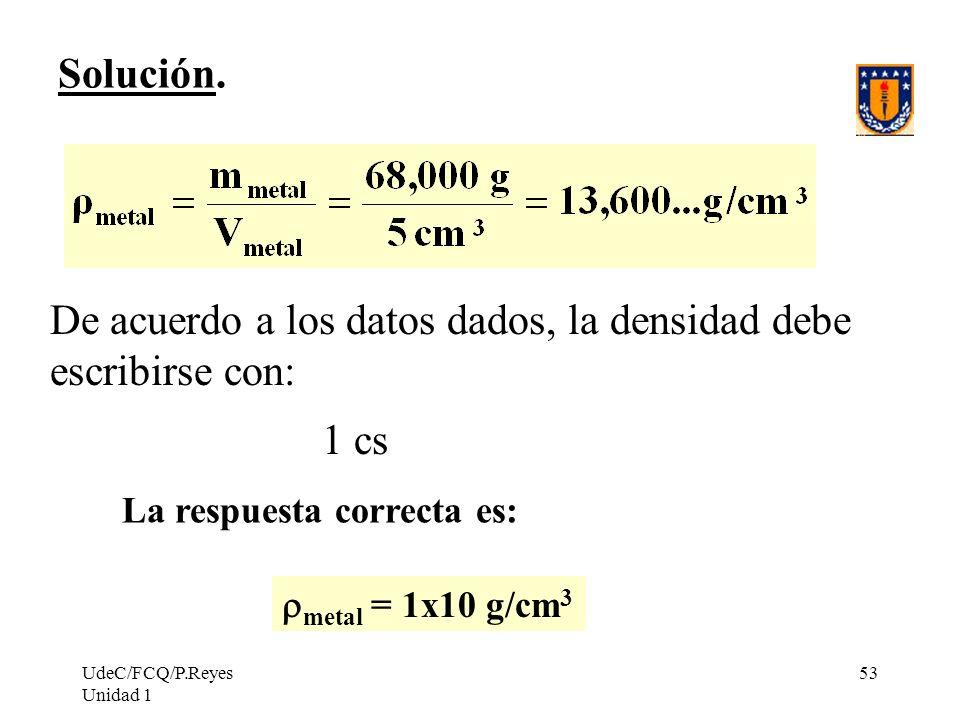 De acuerdo a los datos dados, la densidad debe escribirse con:
