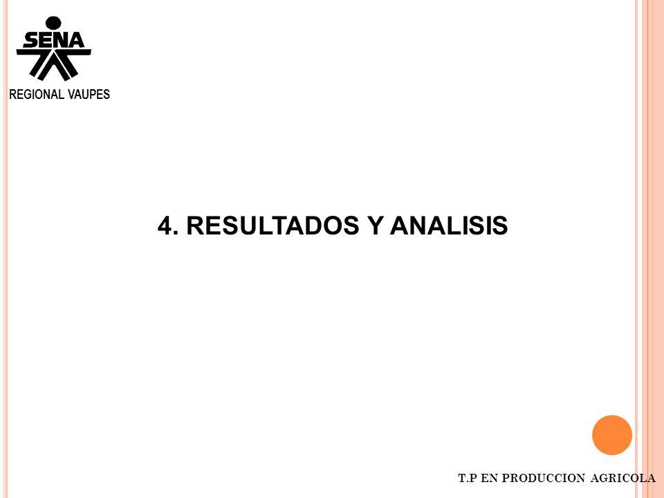 REGIONAL VAUPES 4. RESULTADOS Y ANALISIS T.P EN PRODUCCION AGRICOLA