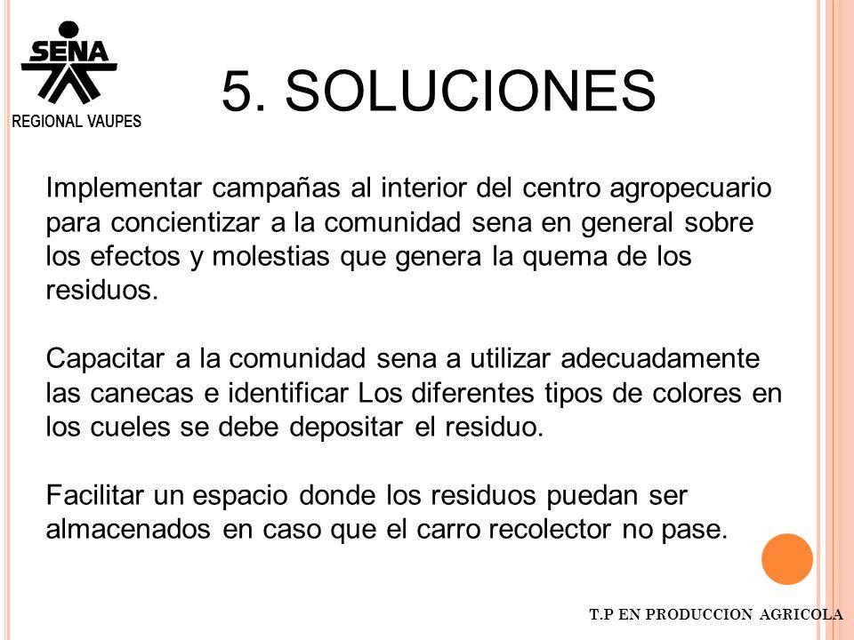 5. SOLUCIONES Implementar campañas al interior del centro agropecuario