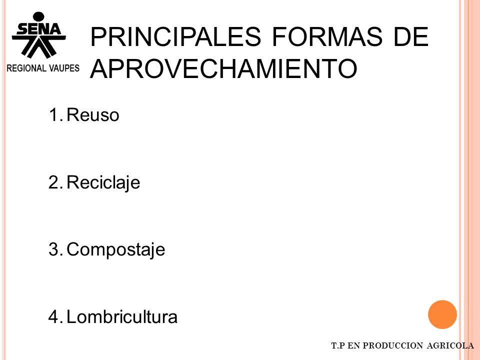 PRINCIPALES FORMAS DE APROVECHAMIENTO