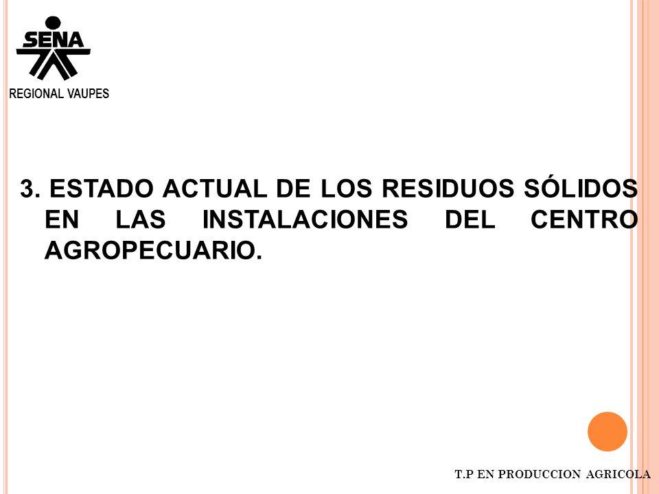 REGIONAL VAUPES3. ESTADO ACTUAL DE LOS RESIDUOS SÓLIDOS EN LAS INSTALACIONES DEL CENTRO AGROPECUARIO.