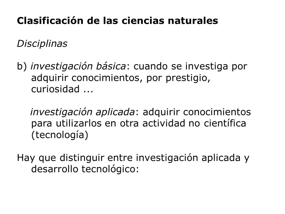 Clasificación de las ciencias naturales