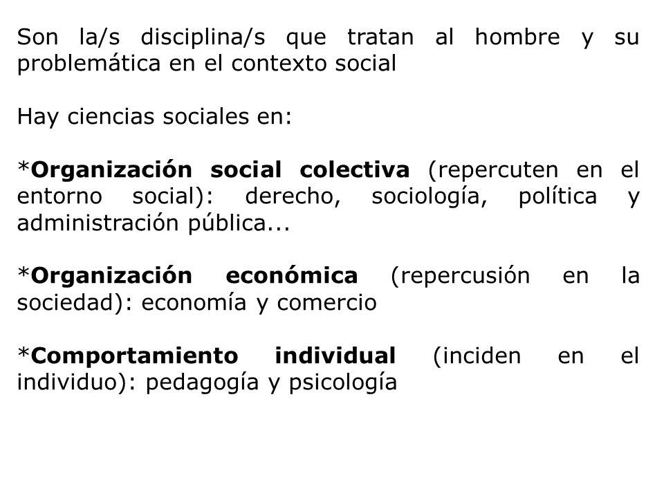 Son la/s disciplina/s que tratan al hombre y su problemática en el contexto social