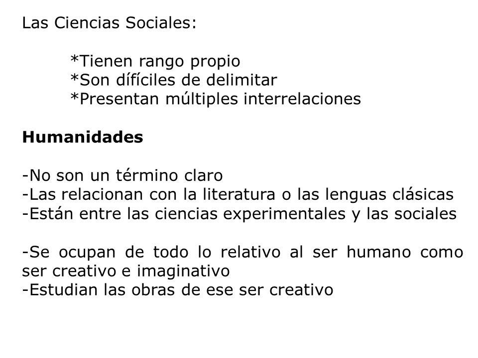 Las Ciencias Sociales: