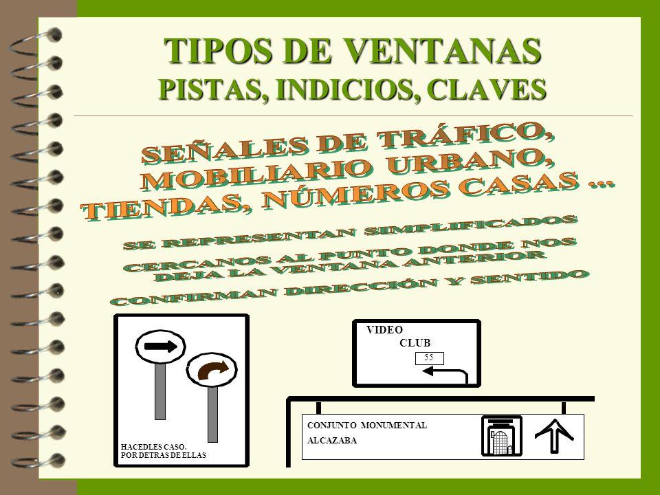 TIPOS DE VENTANAS PISTAS, INDICIOS, CLAVES