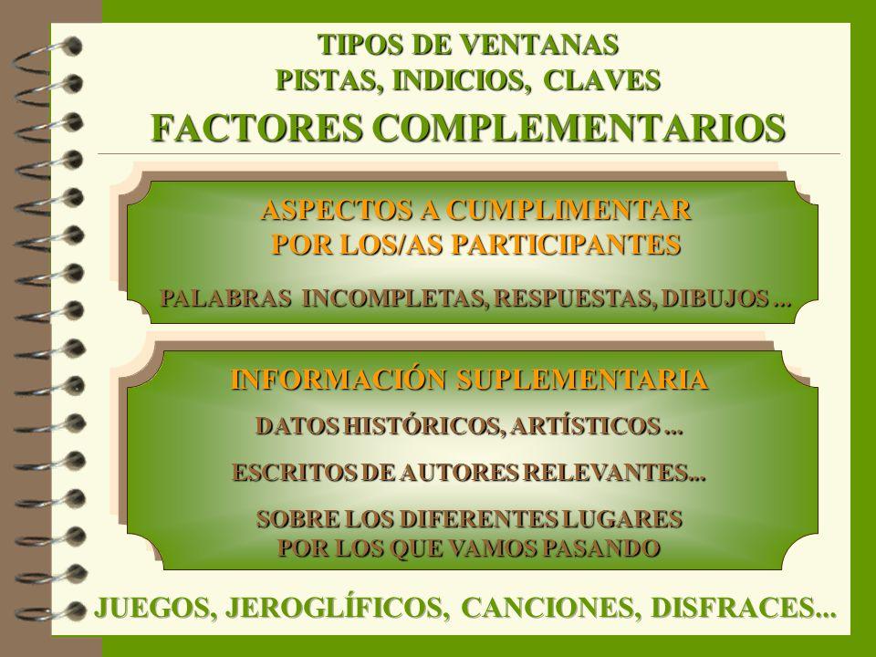 TIPOS DE VENTANAS PISTAS, INDICIOS, CLAVES FACTORES COMPLEMENTARIOS