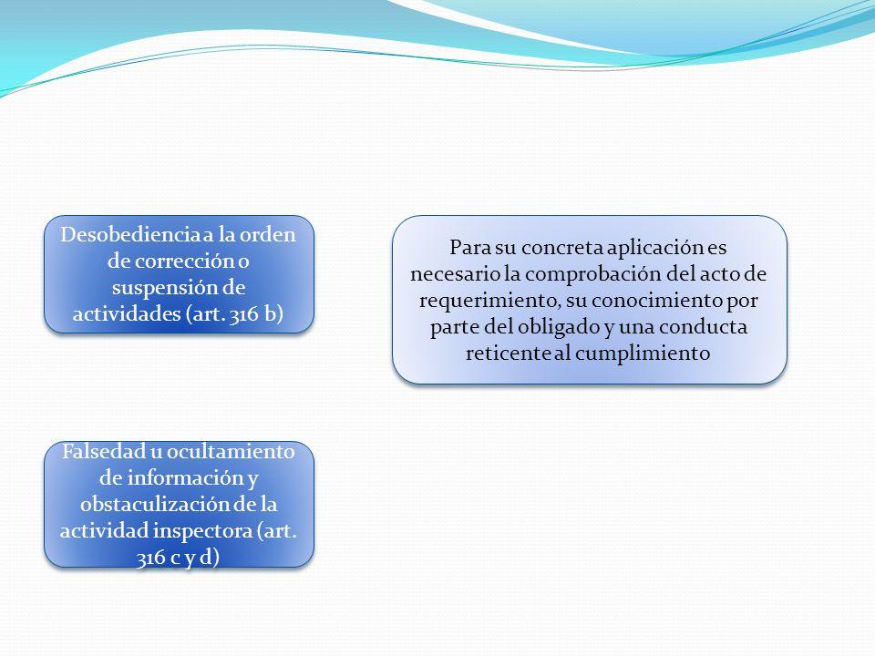 Desobediencia a la orden de corrección o suspensión de actividades (art. 316 b)